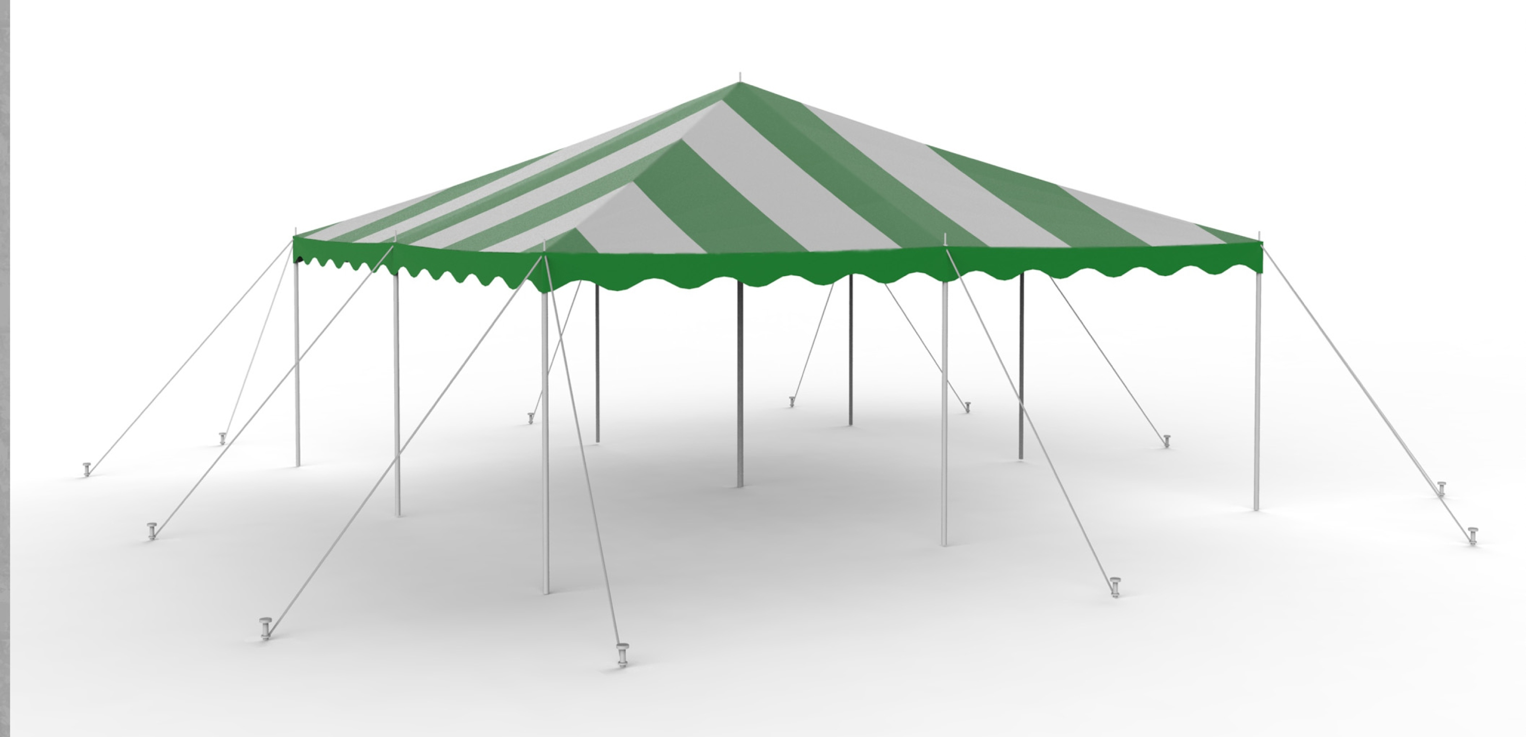 16x16 Green-White Staked Canopy