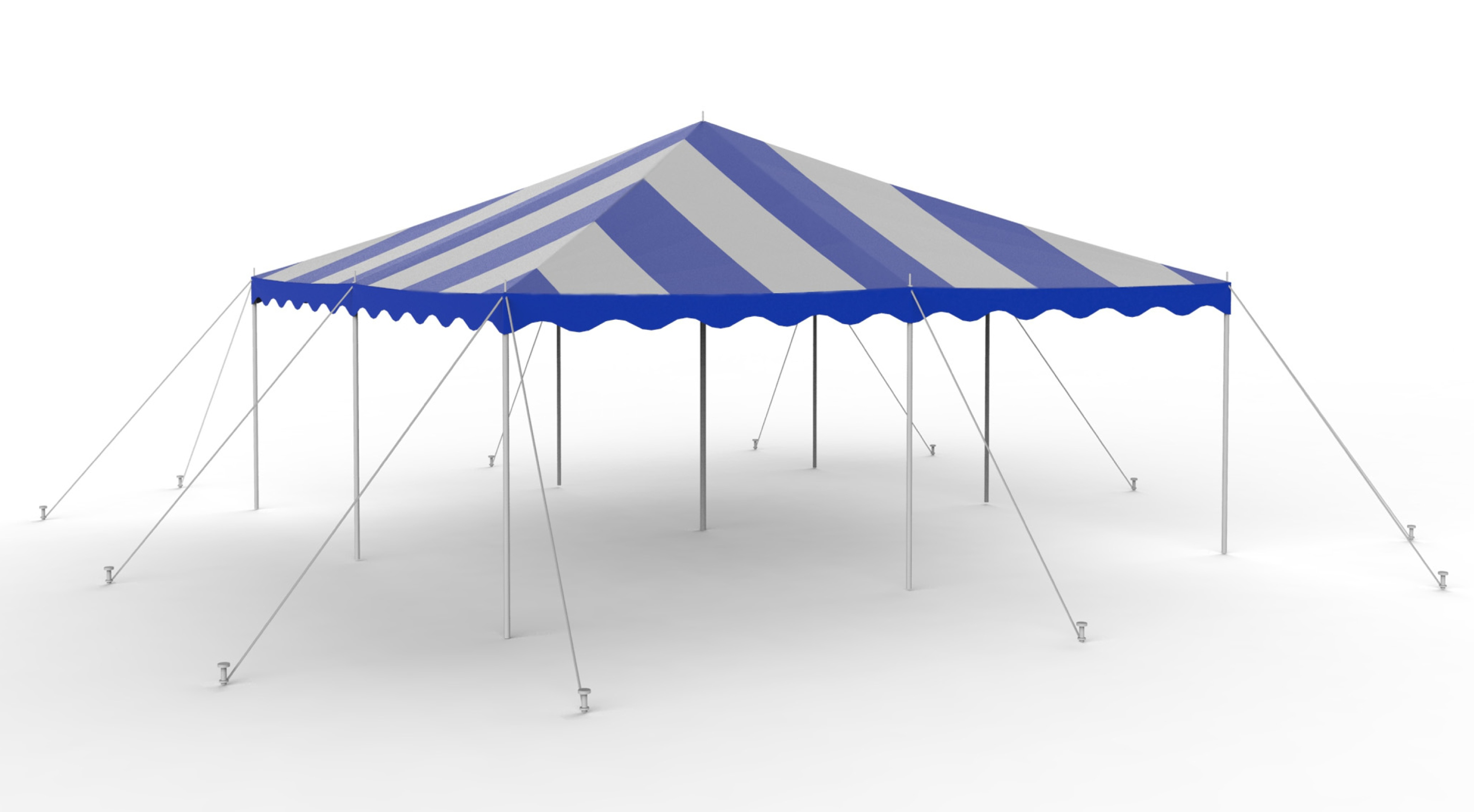 20X20 Blue-White Staked Canopy