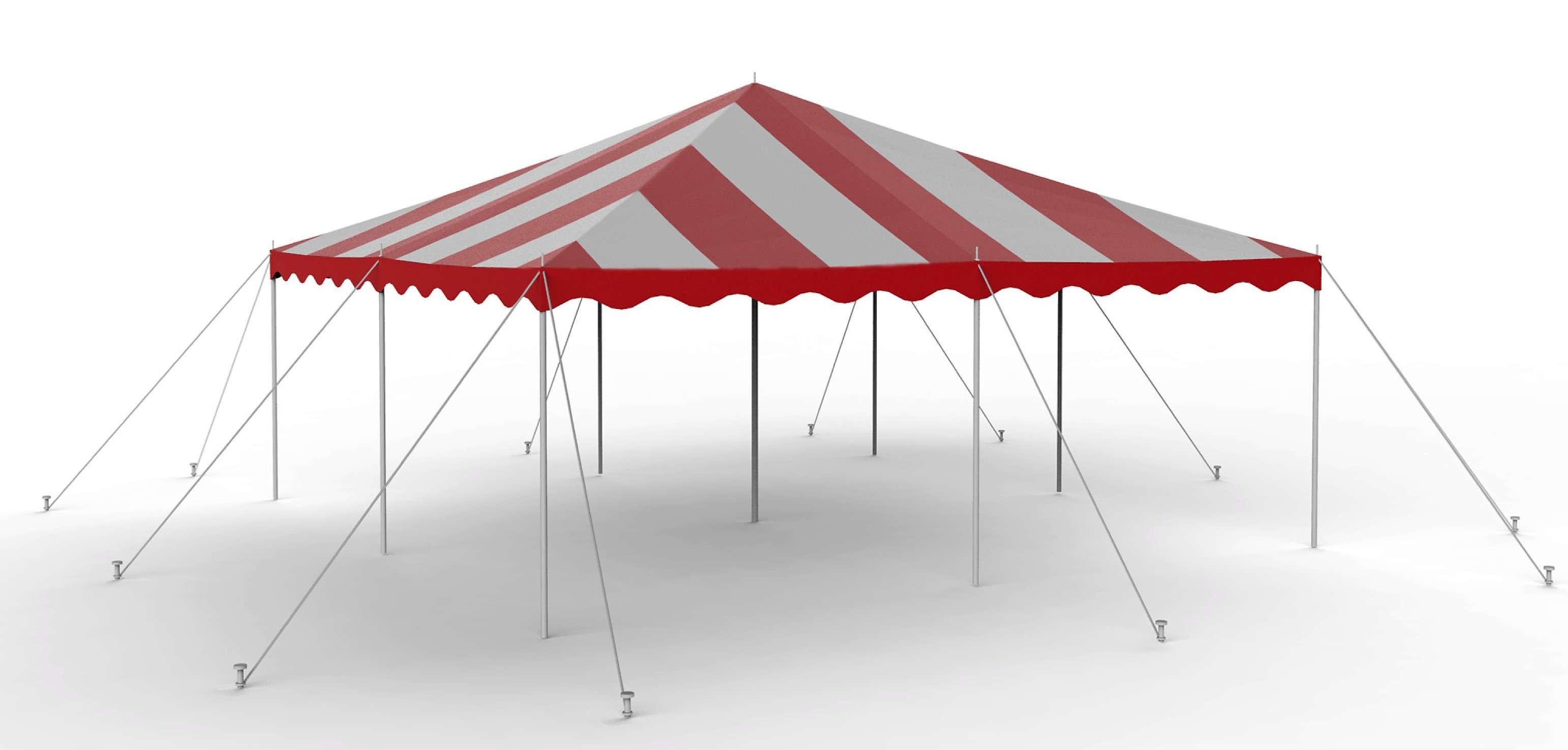 20x20 Red-White Staked Canopy