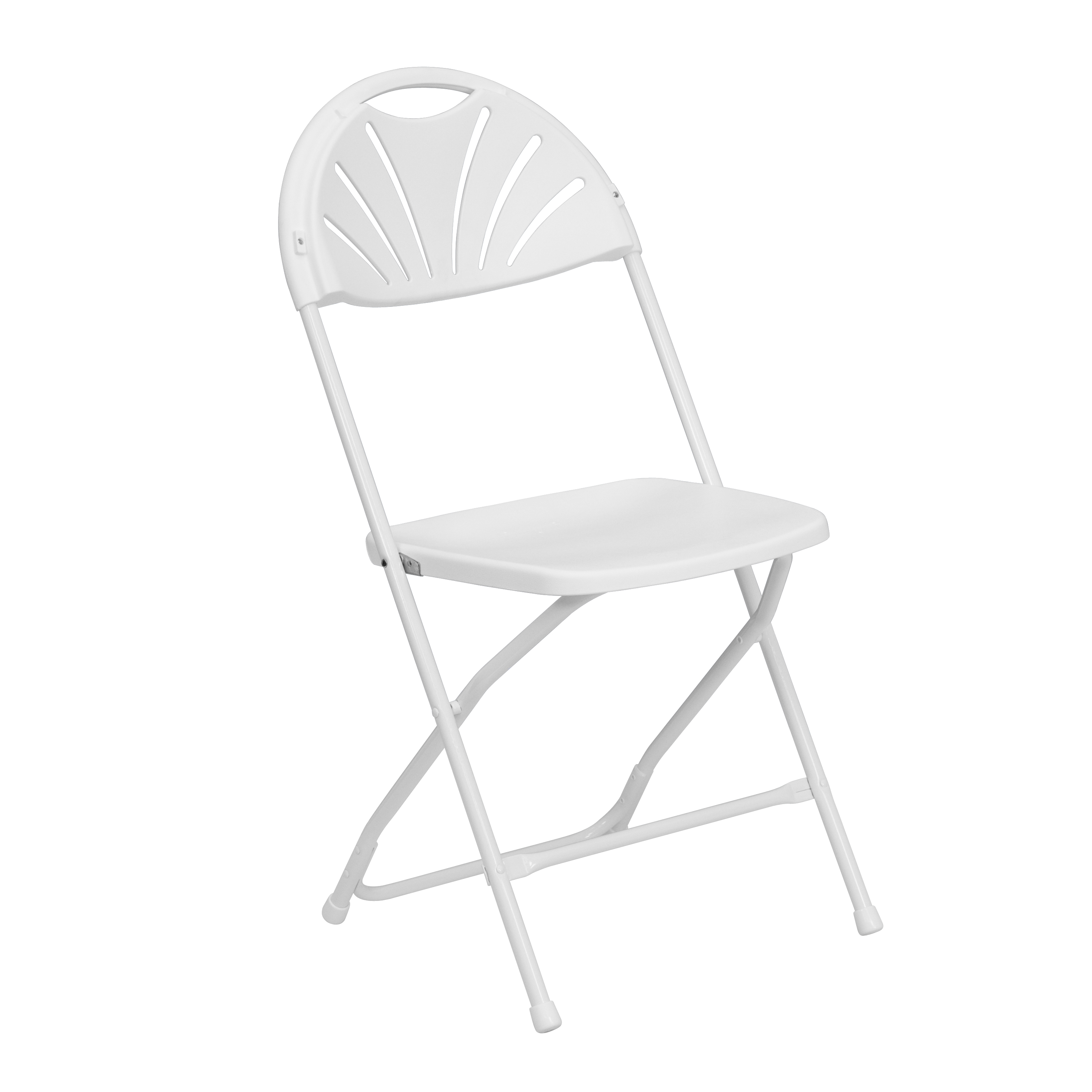 White Plastic Fan Back Chairs